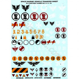 Space Marines Vehicles Transfers Sheet
